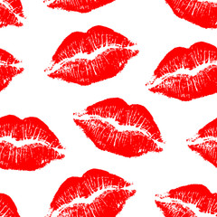Vector seamless pattern with red lip impression isolated on white background.