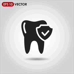 tooth single vector icon on light background