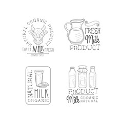 Vector set of monochrome logos for milk production business. Labels with cow head, jug, glass with cookies and bottles. Fresh product