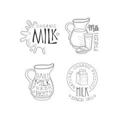 Vector set of monochrome emblems for dairy production business. Logos with milk splashes, jugs, cardboard packaging and glass with cookies
