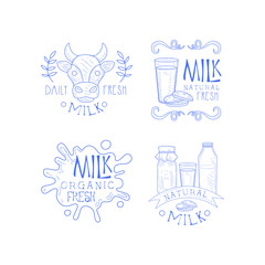 Vector set of sketch labels for dairy production business. Monochrome emblems with cow head, milk splashes, bottles and glass with cookies