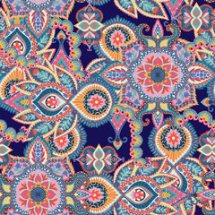 Seamless paisley pattern. Colorful floral ornament. Oriental design for fabric, prints, wrapping paper, card, invitation, wallpaper. Vector illustration