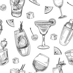 Alcoholic cocktails pattern