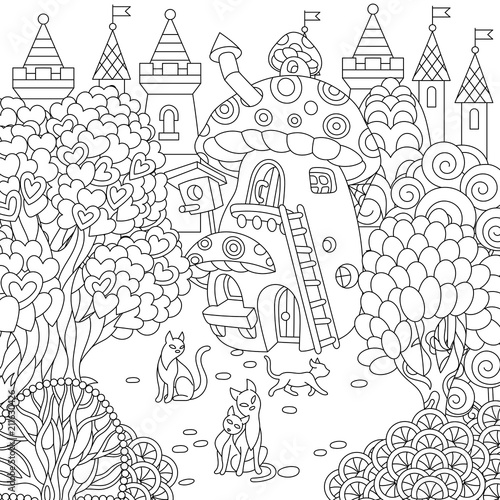 Fairytale Mushroom House Magic Heart Shaped Trees And Cats Coloring Page