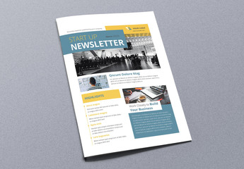 Newsletter Layout with Yellow and Blue Accents