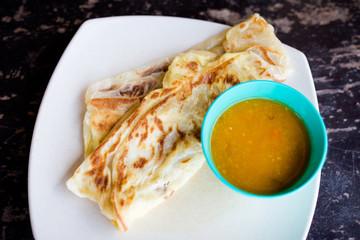 Malaysian roti telur and dhal