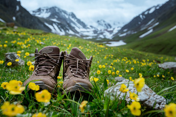Pair of hiking boots lying in the grass