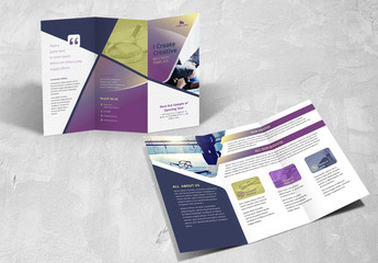 Business Brochure Layout with Purple Gradient Accents