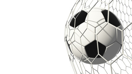 Soccer football isolated on white background in goal. World championship. 3d illustration.