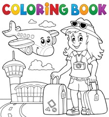 Door stickers For Kids Coloring book tourist woman theme 2
