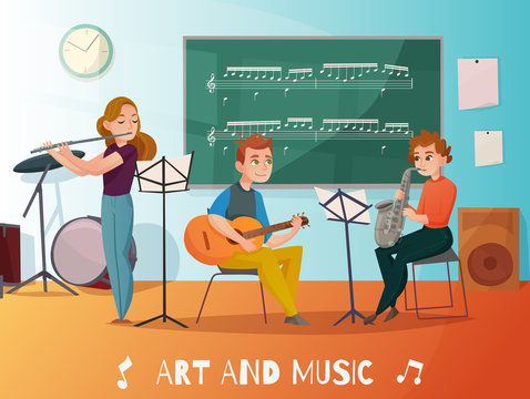 Music Lesson Cartoon Illustration