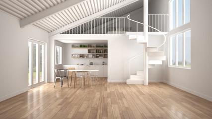 Minimalist open space, white kitchen with mezzanine and modern spiral staircase, loft with bedroom, concept interior design background, architect designer idea