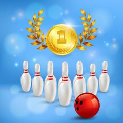 Fototapete - Bowling Victory 3D Composition