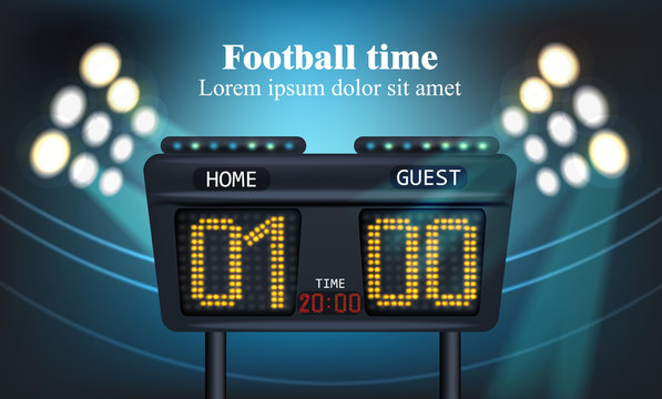Electronic board for football game score Vector