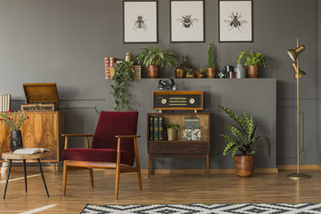 Red wooden armchair in vintage living room interior with radio on cabinet next to plant. Real photo