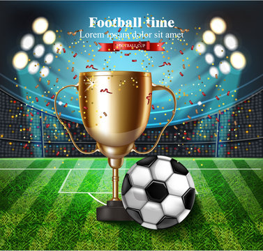 Football cup on the stadium Vector. Winner champion concept