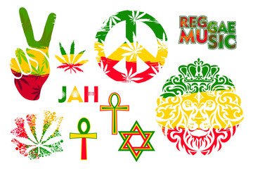 Set of isolated rastaman symbols