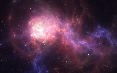 Expanding giant star flying through deep space.