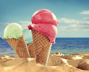Summer photo of icecream and beach background