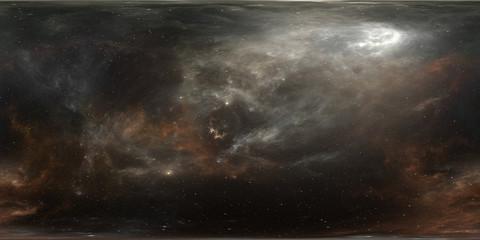 Virtual reality stellar system and nebula. Panorama, environment 360 HDRI map. Equirectangular projection, spherical panorama.