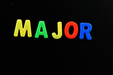 English letters in black background are the words major