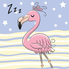Sleeping Flamingo on a blue and yellow background