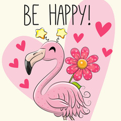 Be Happy Greeting card with Cartoon Flamingo