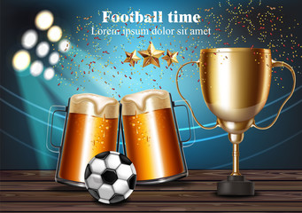 Beer mugs and Football cup on the stadium Vector. Winner champion concepts