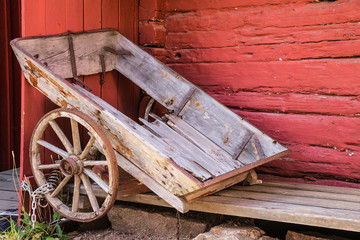 Old weathered wooden carriage