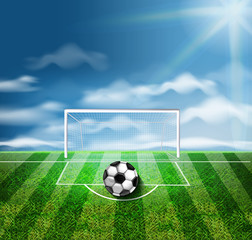 A soccer ball on the green stadium Vector 3d realistic illustrations