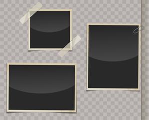 Retro photo frames with transparent shadows