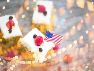 Traditional american carrot cake. 4th of july sweet