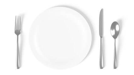 Plate isolated on white with fork, knife and spoon