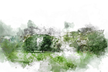 Foto auf Leinwand Olivgrun Abstract tree and field landscape on watercolor illustration painting background.