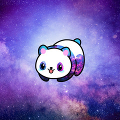 Kawaii illustration of a minimalist cute panda bear ruling the whole universe from space nebula. The whole picture is colored in tones pink, purple, lilac and blue.