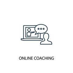 Online coaching line icon. Simple element illustration