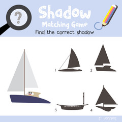 Shadow matching game of Catamaran cartoon character side view transportations for preschool kids activity worksheet colorful version. Vector Illustration.
