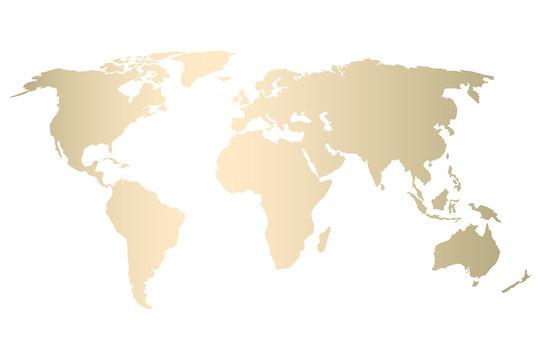 Modern gold world map design . Vector Trendy design