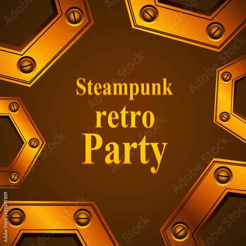 Steampunk Retro Party Invitation Card Vector Obrazów
