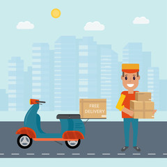 Logistics and delivery service concept: motorbike,  smiling couriers with packages, scooter and city background.