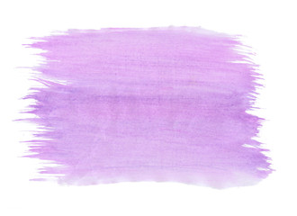 Abstract texture brush ink background purple aquarel watercolor splash hand paint on white background