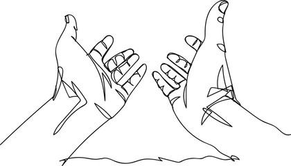 Continuous line art or One Line Drawing of prayer hand.