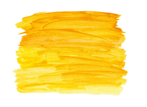 yellow paint brush texture background isolated