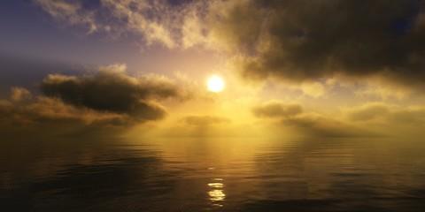 Panorama of sea sunset, ocean sunrise, seascape, 3d rendering