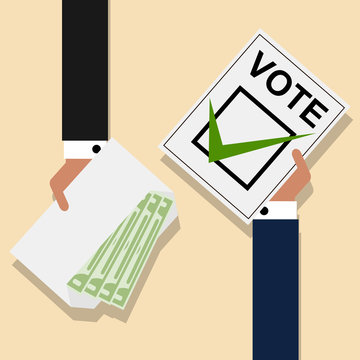 Political candidates buying votes. Bribery of voters in elections. Vector illustration
