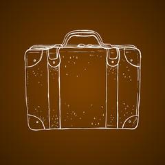 Old style luggage suitcase sketch illustration. Vintage travel suticase hand drawn illustration