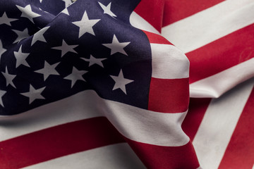 Close up of American stars and stripes flag