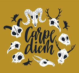 Vector card with frame of animal skulls and lettering - 'Carpe diem'. Halloween or Day of the dead background with cute skulls.