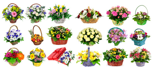 Collection of various colorful flower arrangements as bouquets i