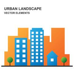 Urban landscape with flat city design, Vector illustration